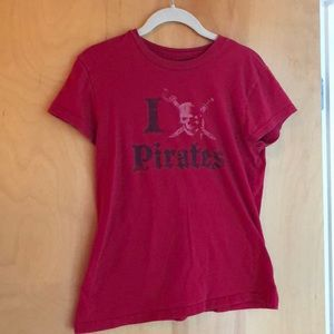 Disney Pirates of the Caribbean red fitted t-shirt